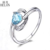 HELON Heart Shape 0.93ct Swiss Topaz Solid 14K White Gold Natural Diamonds Ring For Women Engagement Wedding Romantic Jewelry