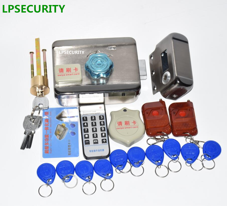 12VDC 20 Tags 1 2 4 Remote Controls Electronic Key Lock Drop Bolt Lock  RFID Electric Door Castle Mute Lock Kit Not Waterproof