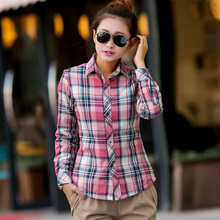 2014 Direct Selling Top Fasion Full Cotton Blouse Blusas Flag Thermal Plaid Shirt Female Plus Velvet Long-sleeve Small Fresh
