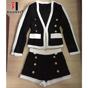 Image 3 - High Quality 2 Two Piece Set Women Black White Short Pants Double Lion Button Blazer Coat with Shorts Womens Suit Autumn Cloth