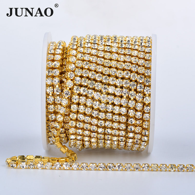 JUNAO SS 6 8 10 12 16 18 Clear AB Glass Crystal Chain Rhinestones Trim Gold Flatback Crystal Stones Applique Strass Band for DIY