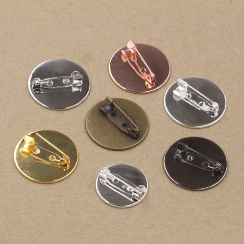 50pcs 25mm Blank Pad/Tray brooches Antique Bronze/Gold/Silver vintage cabochon pin base blank setting diy handmade accessories