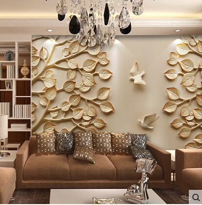 European wallpaper mural large 3d wall paper leaves for tv for Bedroom 3d wallpaper