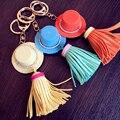 Summer hat tassel keychain key chain women's bell keychain