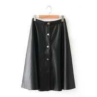 Chu Mark spring vintage elegant buttons suede leather skirts mid calf female retro autumn casual midi skirt A line women 901089