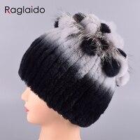 Raglaido Rabbit Hat Women S Beanies Hand Sewing Real Fur Winter Hats Cap With Fox Fur