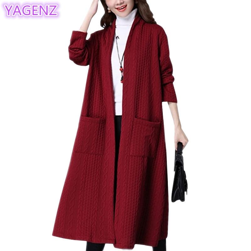 YAGENZ Cardigan Long-Coats Women Windbreaker Autumn Fashion New Slim 120 Blend National-Wind