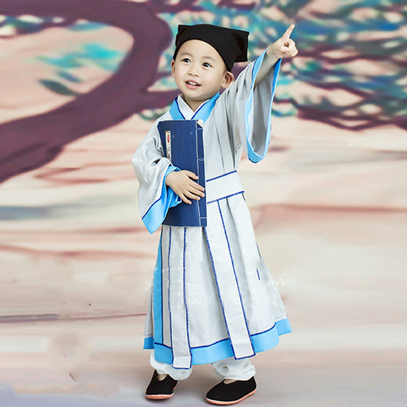 4ce320102 Children's Perform Costume Chinese Classical Hanfu for Girls Boys Nunnery  Clothes Ancient Chinese Style Scholar Dance Costumes