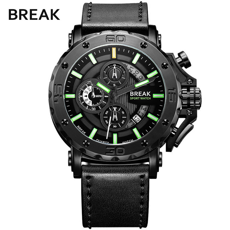 BREAK Brand Creative Men Quartz Watch Leather Military Clock Sport Male Watches Waterproof Casual Wristwatch relogio masculino megir 2017 fashion creative sport waterproof quartz watch men casual leather brand wristwatch luminous stop wristwatch for male