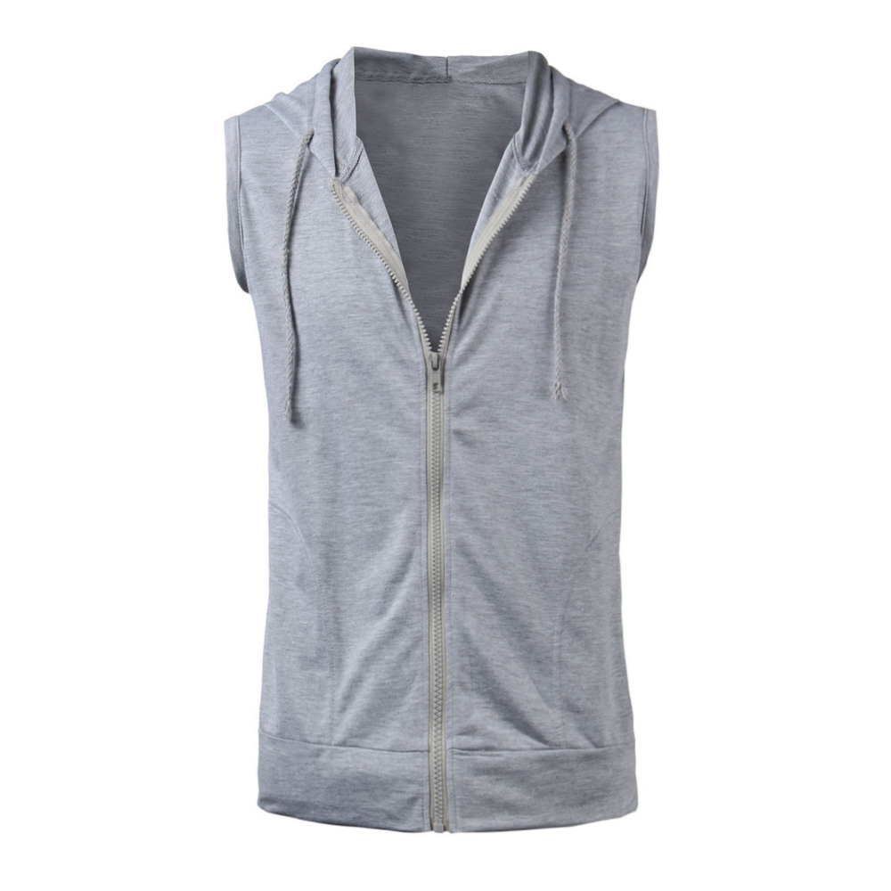 5ea0f9aceb406 2018 Fashion Summer Mens Sleeveless Zipper Vest Jacket Casual Zip Up Hoodie  Hooded Sweatshirt Tank Tops Outwear Men Shirt-in Hoodies   Sweatshirts from  ...