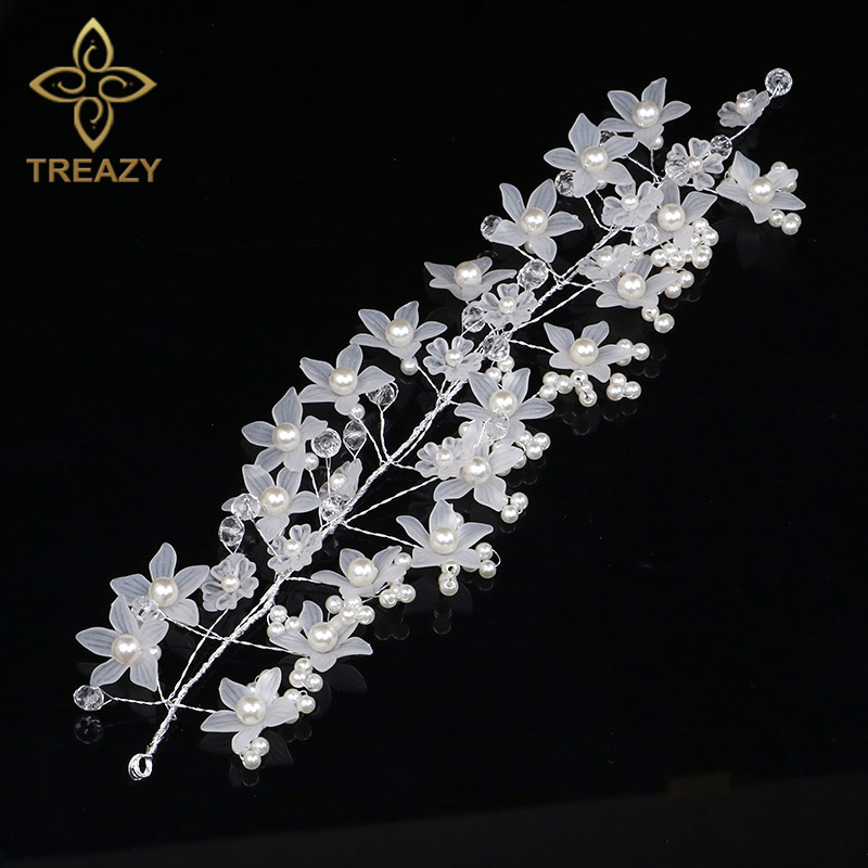 TREAZY Bridal Handmade Imitation Pearl Crystal White Flower Headband Wedding Hair Accessories Bride Bridesmaid Headdress Flower
