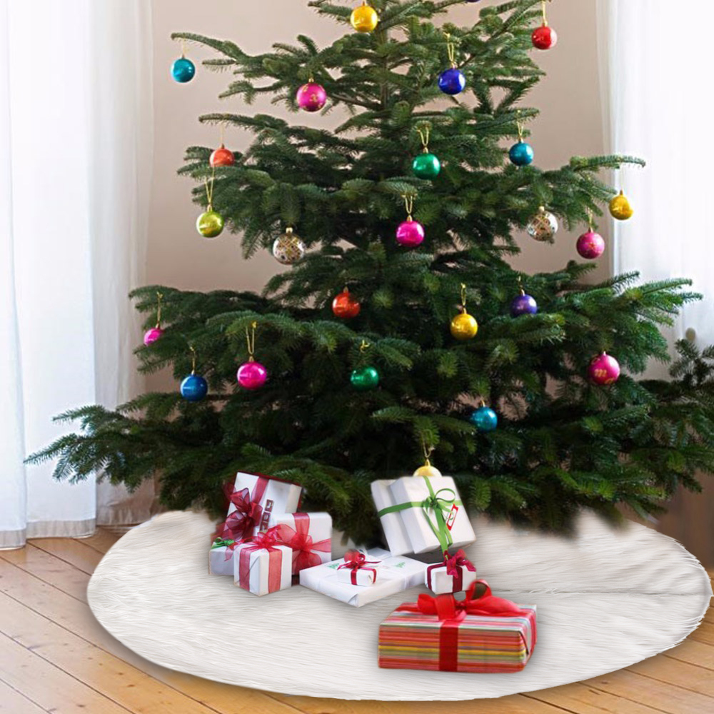 christmas tree decorations long snow plush christmas tree skirt base floor mat cover xmas ornament santa claus deer in tree skirts from home garden on