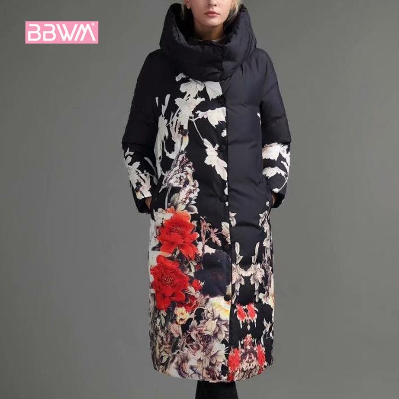 Noir Chaud Section Coton Genou 2018 Féminine Ethniques Lâche Imprimé Rétro Mode Nouvelle À Femme Épais Doux blanc Capuche Longue Hiver Vêtements Veste xx8qORwaf