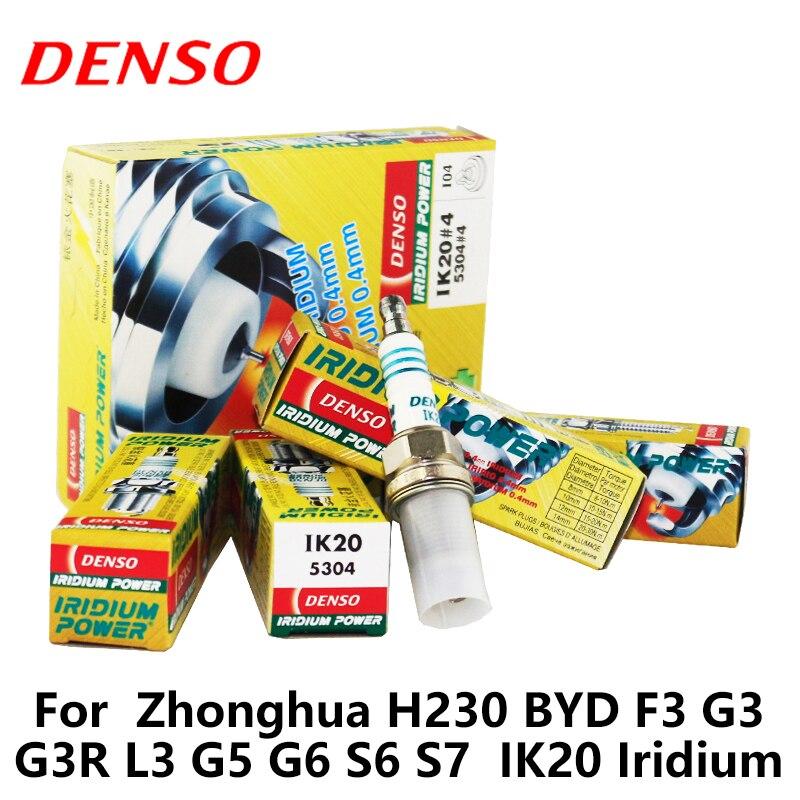 4 pièces/ensemble DENSO Bougie D'allumage De Voiture Pour Zhonghua H230 BYD F3 G3 G3R L3 G5 G6 S6 S7 IK20 Iridium