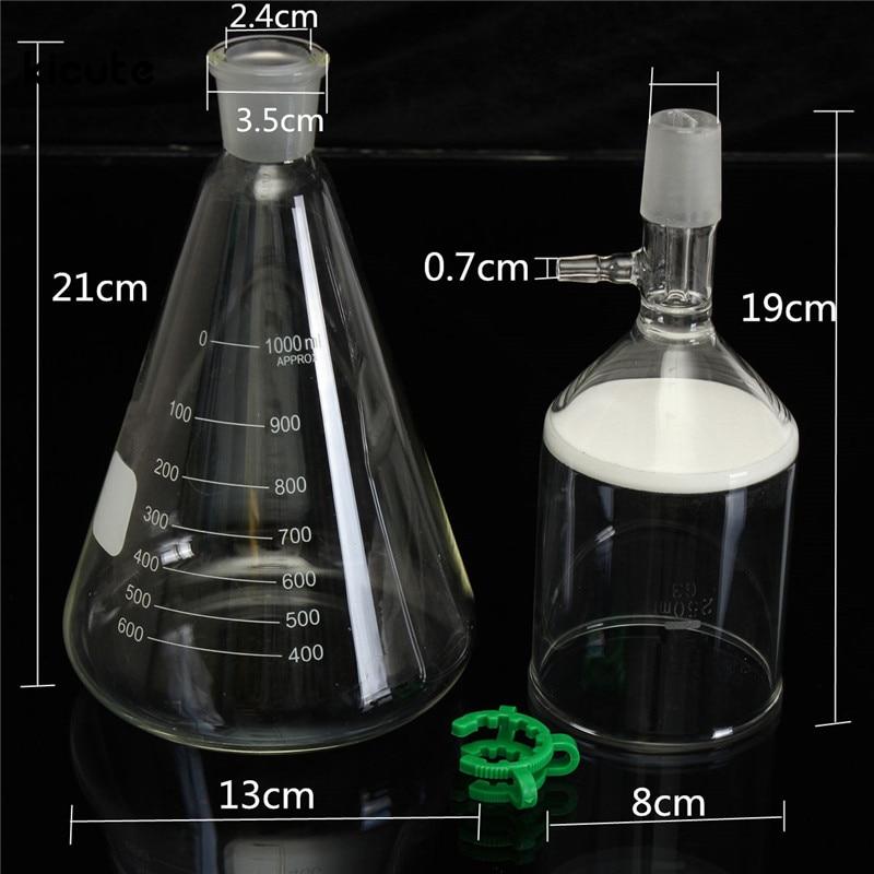 New Arrival 1000ml Glass Suction Filter Kit 250ml Buchner Funnel  1 Litre Erlenmeyer Flask