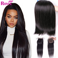 Brazilian Virgin Hair With Closure 8A Human Hair Weave Rosa Hair Products With Closure Brazilian Straight Hair With Lace Closure