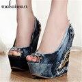 2017 Nueva Llegada Del Verano zapatos de Tacón Alto 12 CM Plataforma de Las Mujeres Sandalias Peep Toe de Mezclilla Remaches Bombas de La Manera Zapatos de Cuña Mujer cuñas