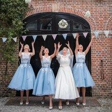 Cinderella Baby Baby Blue Scoop Lace Applique Scoop Sleeveless Short Bridesmaid