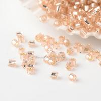 1Pound 15/0 Two Cut Glass Seed Beads, Silver Lined, MistyRose, 1~2x1~1.5mm, Hole: 0.5mm