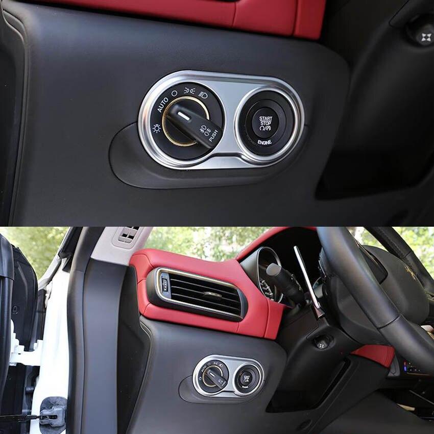 ABS voiture avant interrupteur de lumière ajuster bouton garniture cadre autocollant en forme pour 2016 Maserati Levante intérieur moulures accessoires