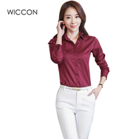 New Autumn Woman Shirts Casual Simple Turn Down Collar Solid White Blue Wine Red Long Sleeves