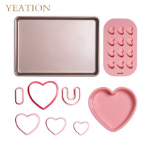 YEATION Home 9PCS Baking Set Pink Heart Shape