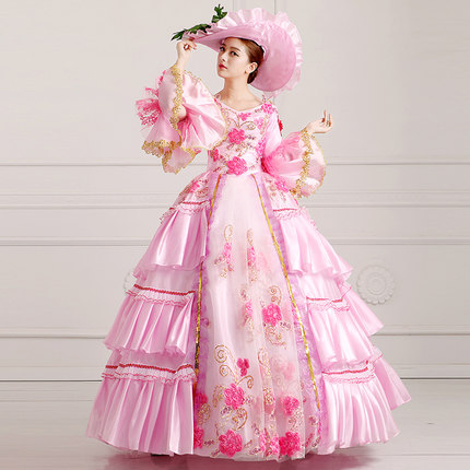 Home Sincere S-3xl Pink Medieval Victorian Vintage 18th Century Baroque Cosplay Costume Marie Antoinette Gown Dress With Hat Be Friendly In Use