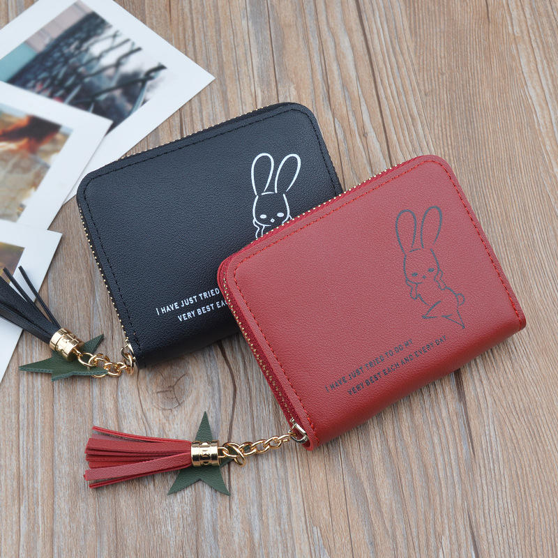 PACGOTH Japanese and Korean Style PU Leather Cute Mini Wallets Kawaii Animal Rabbit Prints Short Zipper Coin Cash Purse 1 Piece
