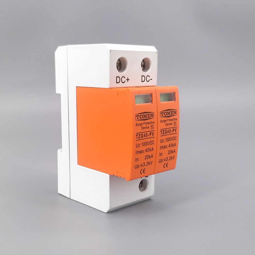 SPD DC 1000V 20KA~40KA House Surge Protector Protective Low-voltage Arrester Device 5pcs pack dual usb jack 90 degree usb connector female 4 bent feet female socket for inference charging white black