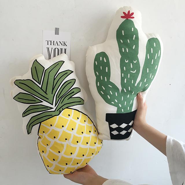 Bonito da fruta planta forma almofada de Algodão Travesseiro Moda Bebê Crianças casa Decoração Almofadas De Cama Do Bebê Abacaxi Criativo cactus