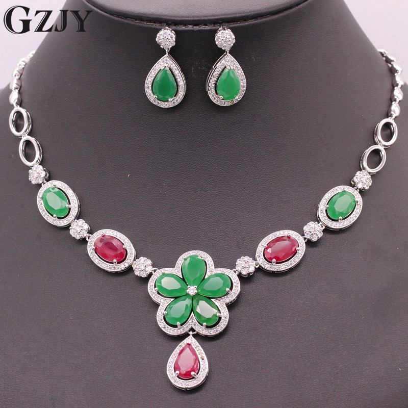 GZJY Fashion Wedding Jewelry White Gold Color Flower Red&Green Zircon Necklace Earring Wedding Bridal Jewelry Sets For Women gzjy gorgeous red zircon bridal jewelry sets gold color flower necklace earrings ring bracelet sets wedding jewelry for women