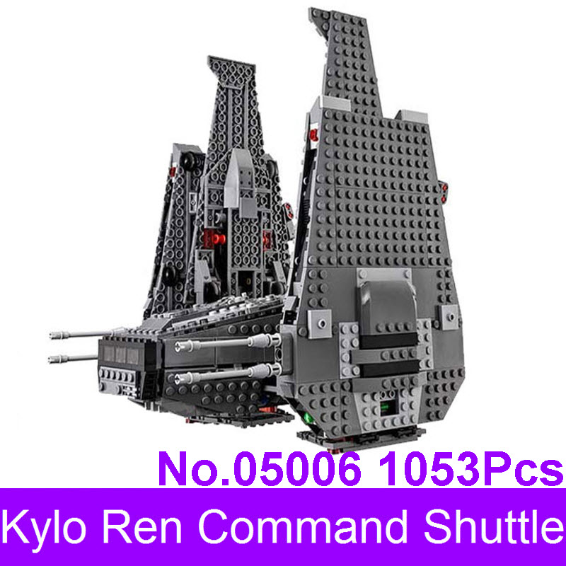 LEPIN 05006 1053Pcs Star Series Wars The Force Awakens Kylo Ren Command Shuttle Model Building Kits Blocks Bricks 75104 color metal 3d puzzle star wars millennium falcon for adult 2016 new batman flying wing kylo ren shuttle 3d nano jigsaw puzzles