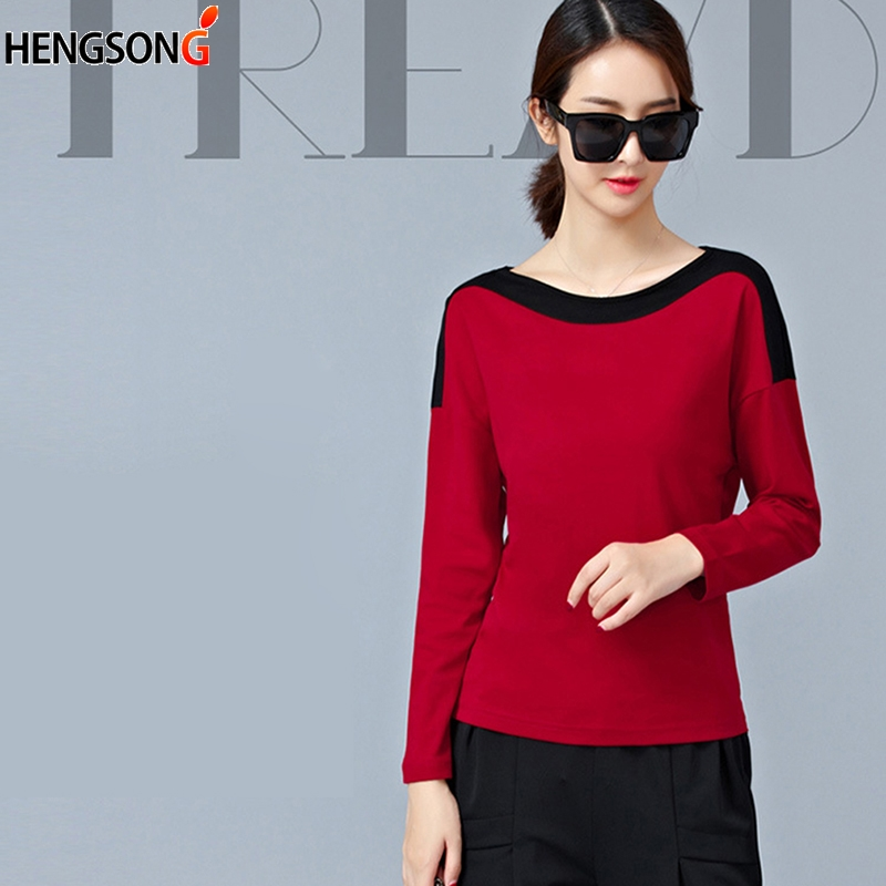 Winter Women t-shirt O-Neck Long Sleeve girl Sweatshirt Tops female blusas Shirt Casual Cotton Blend Shirt
