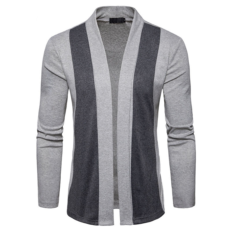 Men Patchwork Sweater Fashion Brand New Arrival 2018 Pattern Design Long Sleeve Cardigan Robe Sweater Slim Casual Sweaters