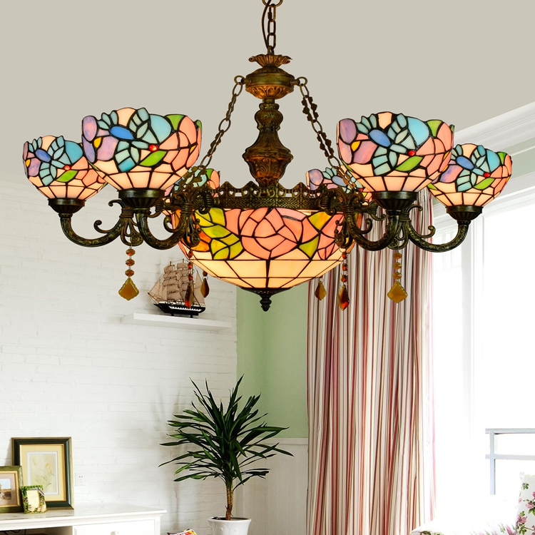 Tiffany Baroque Flesh flower Stained Glass Suspended Luminaire E27 110 240V Chain Pendant lights for Home Parlor Dining Room - 4