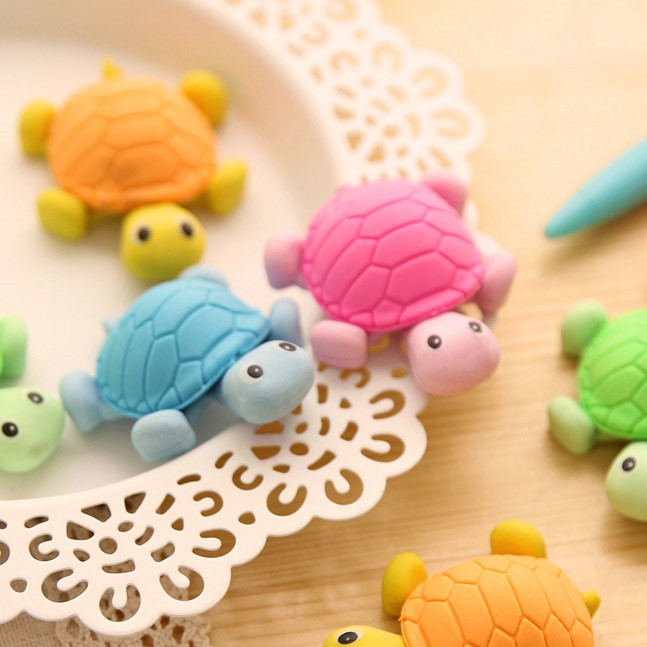 2pcs/pack New Cute Turtle Style Eraser Funny Eraser Office&Study Rubber Erase Kids Gifts