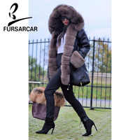 FURSARCAR 2018 Schwarz Farbe Mode Luxus Fell Parkas Winter Dicke Warme Echt Fox Pelz Kragen Und Kaninchen Futter Fell Parkas