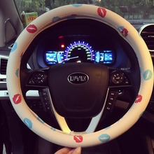 PU Leather Steering Wheel Cover Cartoon Cute Auto Steering Wheel Covers Lip Printed Car Steering Wheel Cover for Girls and Women
