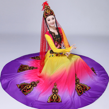 Chinese folk dance costumes carnival colorful dress Xinjiang Uygur clothing national style festival stage performance wear