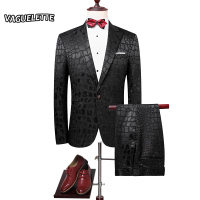 Slim Fit Crocodile Pattern Suit Men Black Fashion Night Club Mens Suits With Pants Elegant Groom
