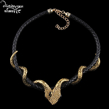28fbb24c7d7a Dvacaman marca nuevo diseño serpiente declaración de moda collar étnico de  cuero collar de gargantilla de cadena y colgante accesorio de la joyería  YY36