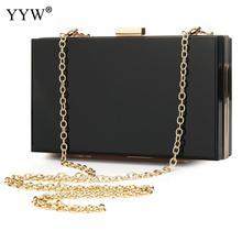 YYW Black Evening Acrylic Hard-Surface Clutch Bag Women Bolsa Feminina 2019 Small Box Purse With Gold Chain Magnet Buckle