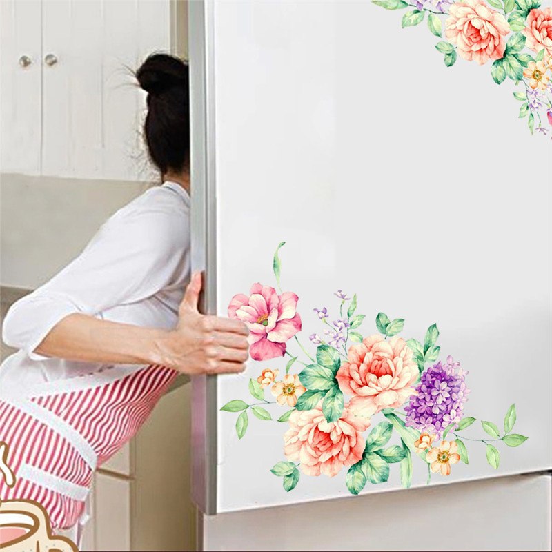 Romantic Colorful Peony Flowers Wall Stickers Home Stickers On The Cabinet Decor PVC Decals Living Room Toilet Fridge Decoration in Wall Stickers from Home Garden