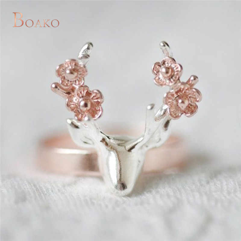 Vintage Rose Gold Silver Color Sika deer Rings Bague for Women Girl Party Gifts Jewelry Animal Christmas Gift Anillos Anel Z4