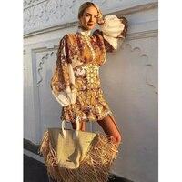 Шелк + льняная рубашка с рукавами фонариками с золотым принтом Ретро Изысканная Высококачественная женская рубашка с длинными рукавами