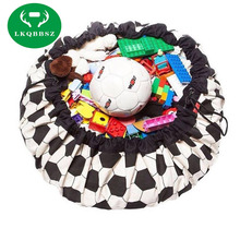 ФОТО Portable Kids Toy Storage Bag and Play Mat Toys Organizer Bin Box Waterproof Picnic Mat  Practical Clothing Storage Bag