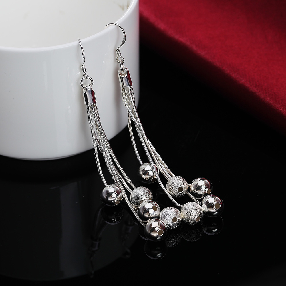 promotions E277 wholesale Beautiful Retro bead chain  silver platedearring high quality fashion classic jewelry antiallergic