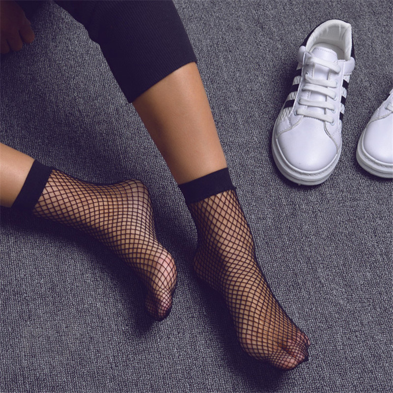 Punk Women Girls Sexy Black Hollow Out Breathable Mesh Fishnet Socks Female Gothic Stretchable Short Hosiery Ankle Socks