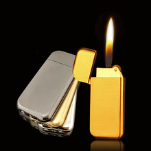 Portable Ultra Thin Compact Lighter Grinding Wheel Jet Butane Gas Frosted Mini Metal men gift