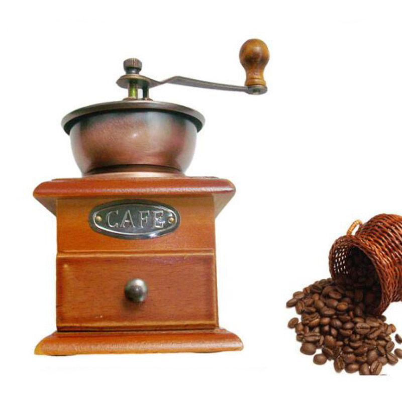 Classic Wood Wooden Hand Shake Coffee Grinder Bean Spice Black Pepper Grinder Pepper Washed Manually Tool Cafe Grinder Machine